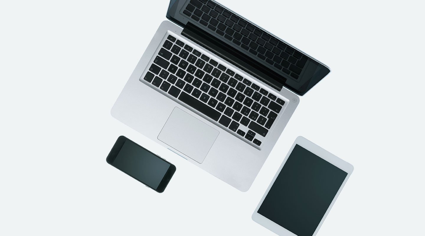 Assortment of laptops, tablets and smartphones